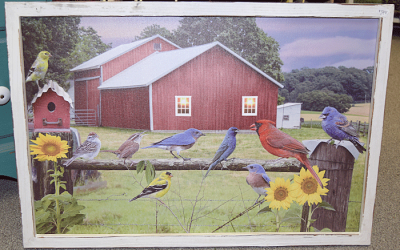 Print of a Farm Scene Painting